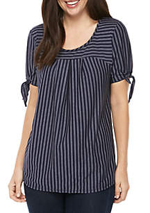 Kim Rogers® Split Sleeve Stripe Knit Top
