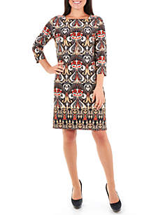 Border Puff Print Necklace Shift Dress
