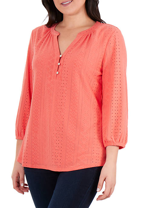 Kim Rogers® 3/4 Sleeve Lazer Cut Knit Top