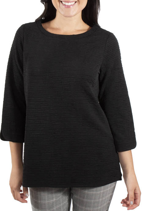 Kim Rogers® Womens Textured Boat Neck Top