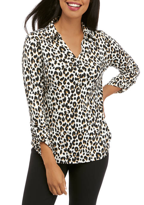 Kim Rogers® Womens Roll Tab Sleeve Printed Top