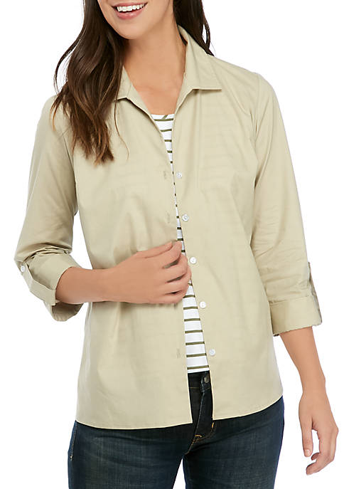 Kim Rogers® Womens 3/4 Sleeve Stripe Inset 2Fer