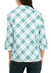 Womens Jazzy Plaid 2Fer Top