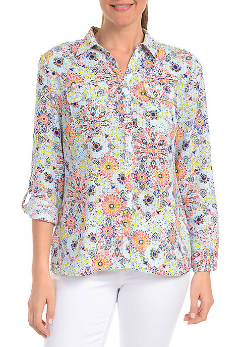 Kim Rogers® Three-Quarter Sleeve Hippy Medallion Utility Shirt