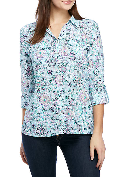Kim Rogers® Printed Window Pane Utility Top