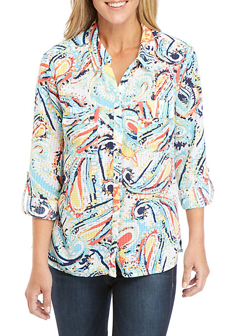 Kim Rogers® Womens Printed Windowpane Utility Shirt