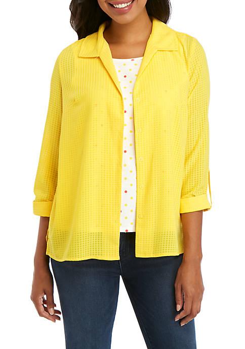 Kim Rogers® Windowpane Shirt with Screen Print Inset