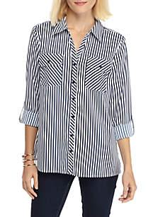 Y-Neck Stripe Utility Shirt