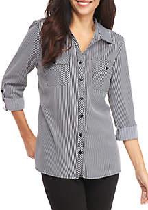 Y Neck 3/4 Sleeve Stripe Utility Shirt