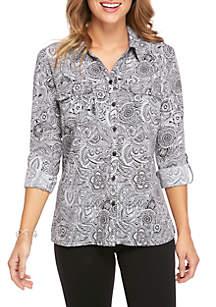 Y-Neck Utility Paisley-Print Shirt