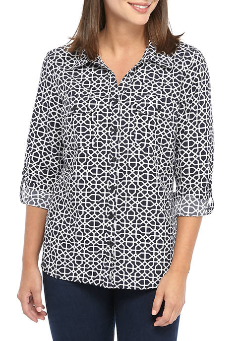 Kim Rogers® Womens Lattice Print Utility Shirt