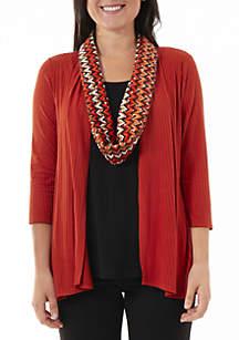 579c7d54762d3 ... Kim Rogers® Rib Knit Cardigan 2Fer Top with Printed Scarf