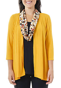 Rib Knit Cardigan 2Fer Top with Printed Scarf