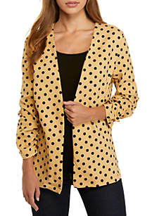 3/4 Ruched Sleeve Polka Dot Jacket