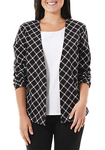 Plaid Collarless 3/4 Ruched Sleeve Jacket