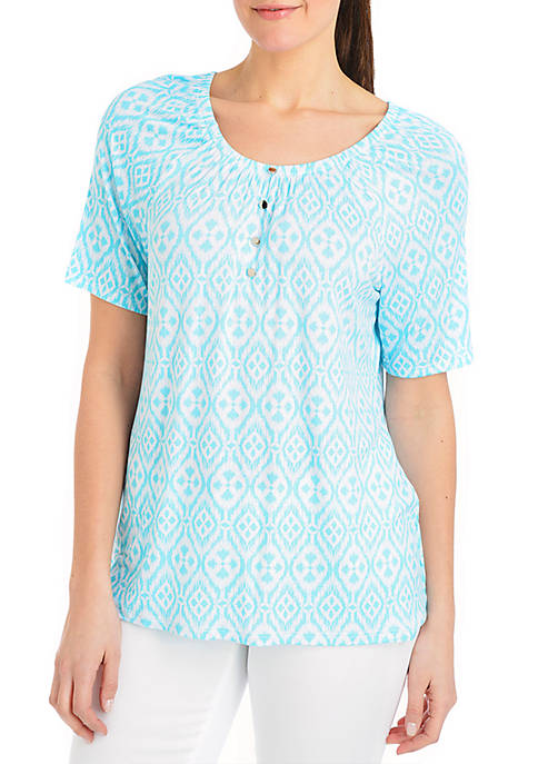 Kim Rogers® Short Sleeve Medallion Peasant Top