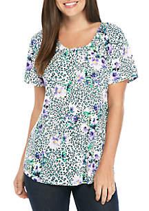 Kim Rogers® Short Raglan Sleeve Elastic Neck Top