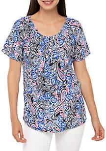 Kim Rogers® Printed Raglan Sleeve Elastic Neck Top