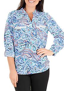Kim Rogers® Printed Split Neck Top