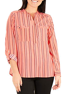 Kim Rogers® Utility Mandarin Collar Stripe Top