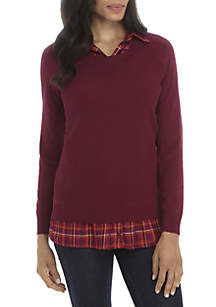 Plaid Woven 2Fer Sweater