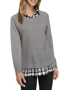 Plaid Two-Fer Sweater