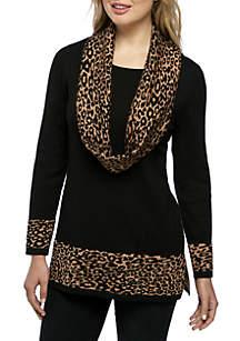 Infinity Scarf Animal Print Sweater
