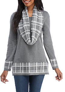 Plaid Infinity Scarf Sweater