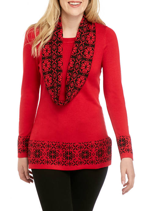 Kim Rogers® Womens Fair Isle Infinity Scarf Sweater