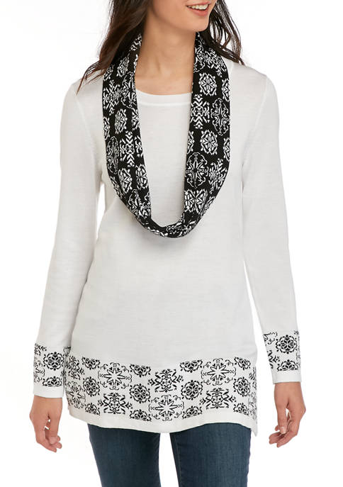Kim Rogers® Womens Long Sleeve Medallion Infinity Scarf