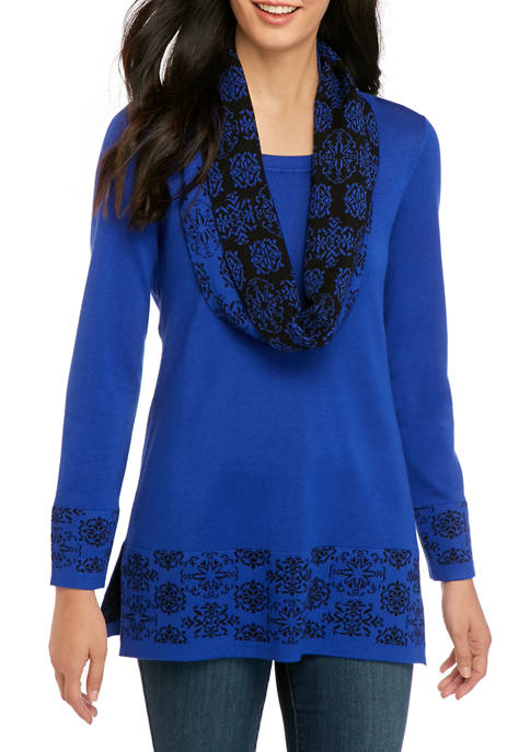 Womens Long Sleeve Medallion Infinity Scarf Sweater