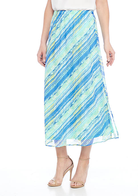 Kim Rogers® Printed Chiffon Skirt With Slits