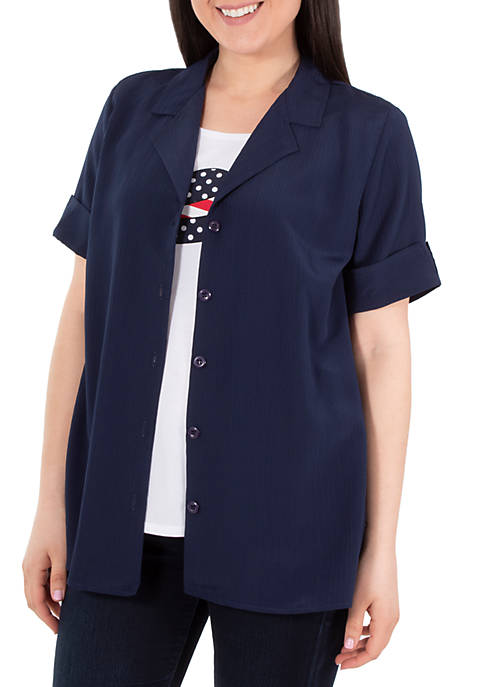 Kim Rogers® Plus Size Matchback 2Fer Top