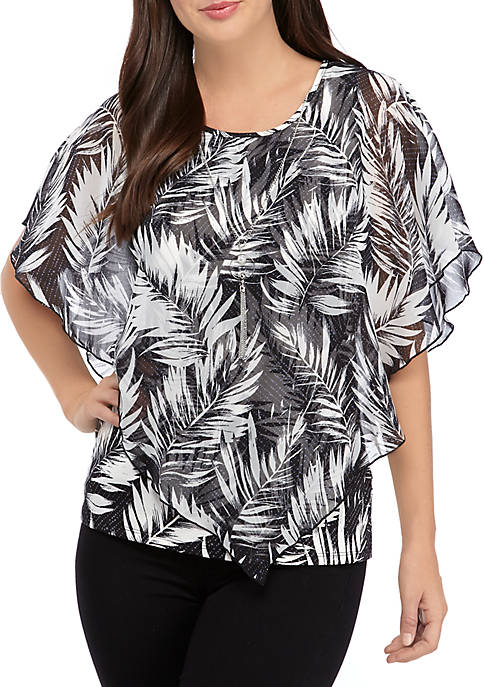 Petite Printed Poncho Top with Necklace