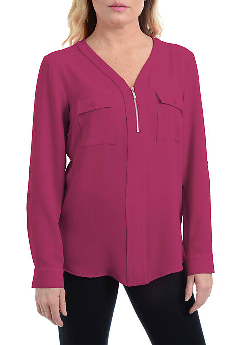 Kim Rogers® Petite Zip-Front Flap Pocket Long Sleeve