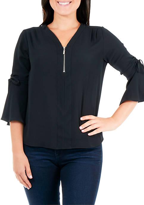 Kim Rogers® Petite Ruched Bell Sleeve Zip Top