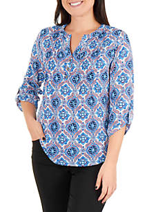 Kim Rogers® Petite Button Pleated Top