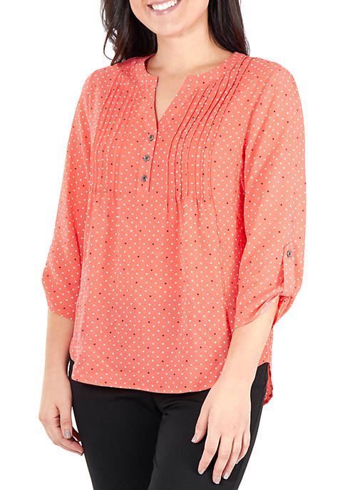 Petite Button Top with Pleats