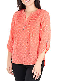 Kim Rogers® Petite Button Top with Pleats
