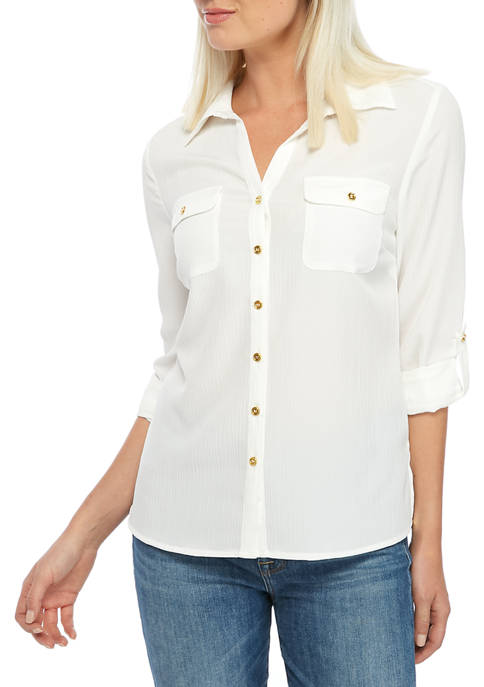 Petite Solid Crinkle Utility Shirt