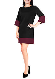Petite Ponte Color Block Dress