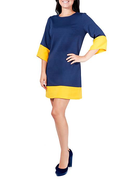 Petite Ponte Color Block Dress