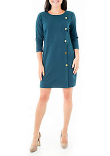 Petite Asymmetrical Button Sheath Dress