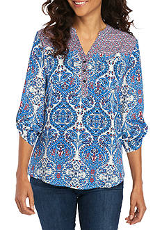 Kim Rogers® Petite Size Pattern Mix Y-Neck Mandarin Collar Top