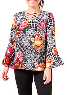 Petite Print Bell Sleeve Lace-Up Top