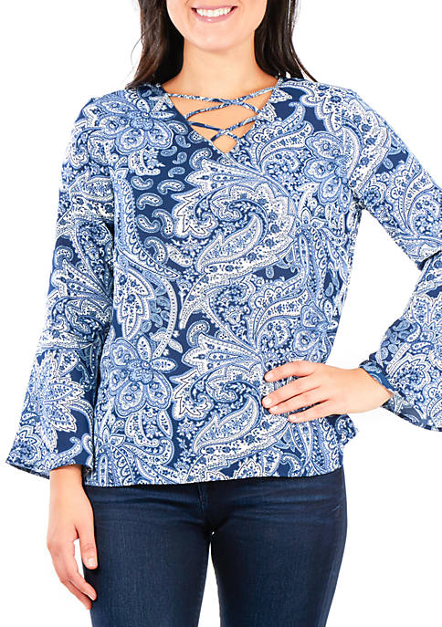 NY Collections Petite Print Bell Sleeve Lace-Up Top