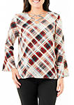 Petite Plaid Bell Sleeve Lace-Up Top