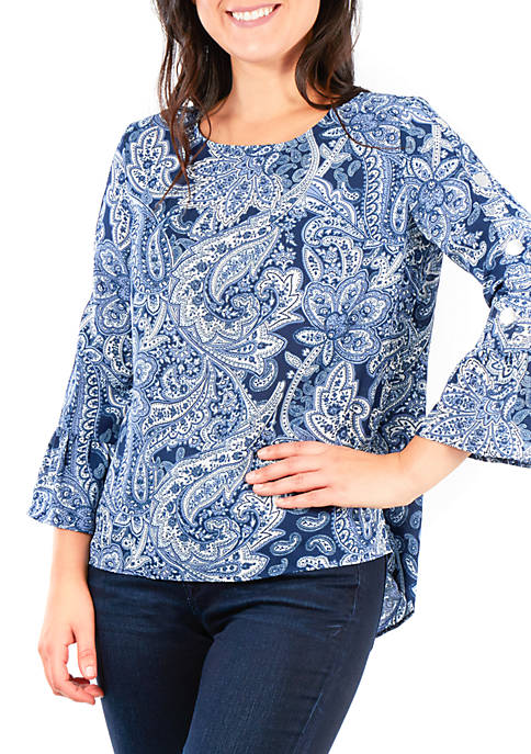 NY Collections Petite Embellished Print Bell Sleeve Top