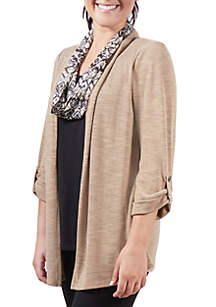 Petite 2Fer Cardigan with Print Scarf