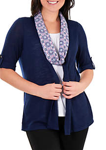 Kim Rogers® Petite 3Fer Top with Burnout Scarf